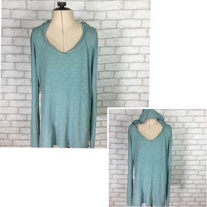 Cynthia Rowley Hooded Long Sleeve V-Neck Shirt Med